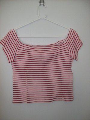 H&M Divided Camisa tipo Carmen blanco-rojo