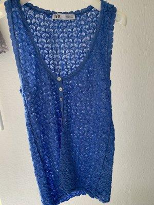 Zara Camiseta Básico azul neón