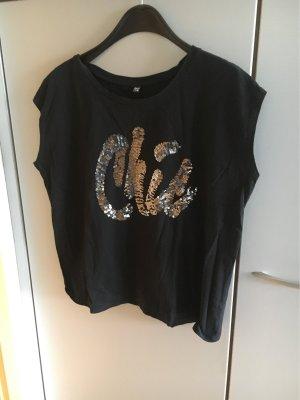 Shirt schwarz mit Pailletten GrL oversized