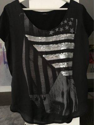 Shirt schwarz mit silbernen Pailletten GUESS