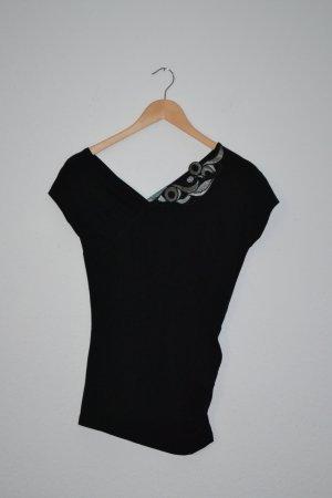 Shirt schwarz V-Ausschnitt Glitzer Colcci