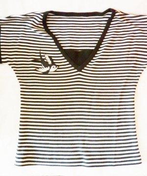 Shirt schwarz weiss gestreift Rockabilly Streifen Shirt Schwalben 38