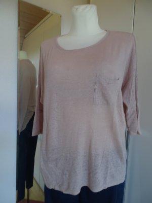 Set T-Shirt cream-dusky pink linen