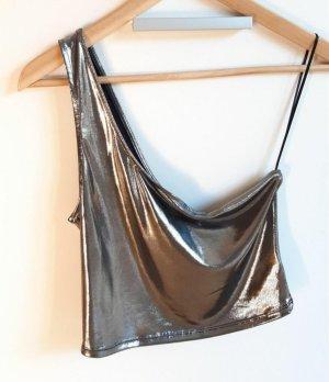 H&M Haut avec une épaule dénudée argenté