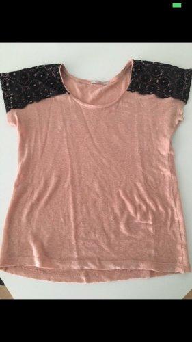 Shirt Spitze Kookai original S 36 schwarz rose altrosa designer