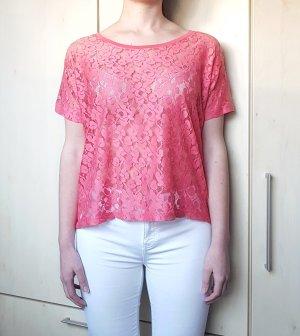 Shirt Spitze Koralle Rot H&M Gr. M/ 38