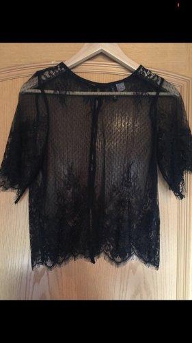 Shirt spitze schwarz durchsichtig T-Shirt