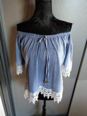 Made in Italy Camisa tipo Carmen azul neón-blanco