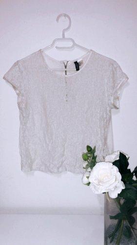 Shirt spitze weiß creme top oberteil h&m elegant