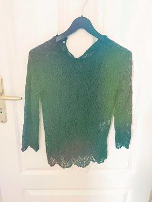 Zara Gehaakt shirt donkergroen