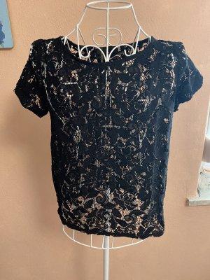 Shirt Spitzenshirt Gr. S Schwarz