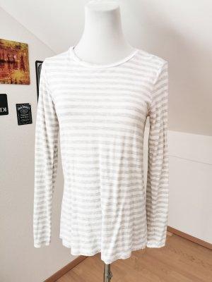 Shirt Streifen Baumwolle grau weiß h&m xs
