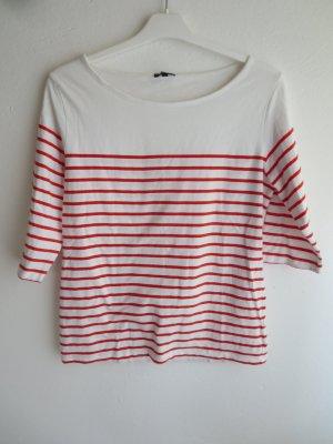 Darling Harbour Koszulka w paski biały-pomarańczowy Bawełna