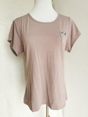 Shirt taupe baumwolle süß basic Brusttaschen