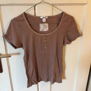 H&M Prążkowana koszulka camel
