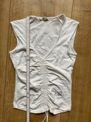 Shirt, Top, d.side, weiß mit silbernem Aufdruck, Glitzer, Gr. L