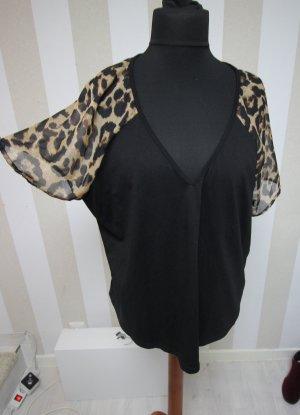 Camicia a tunica nero-sabbia
