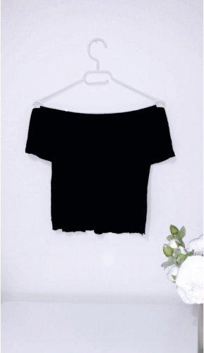 Shirt top oberteil schwarz off shoulder schulterfrei cropped summer sommer
