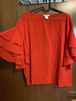 H&M Top con balze rosso-rosso chiaro