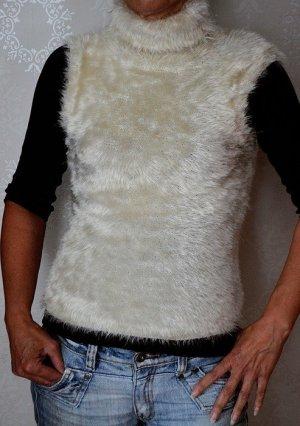 Shirt True Vintage Ärmellos Kunstfell Rollkragen Creme
