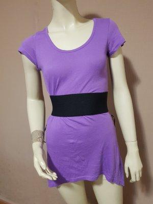 Shirt Tunika mit schwarzem Gürtel, lila NEU Gr. 32