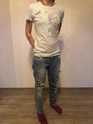 Jeans boyfriend bleu clair-blanc