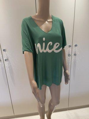 Made in Italy Camisa con cuello V blanco puro-verde claro