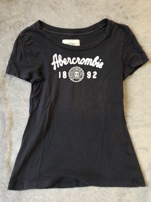 Abercrombie & Fitch T-shirt blu scuro-bianco Cotone
