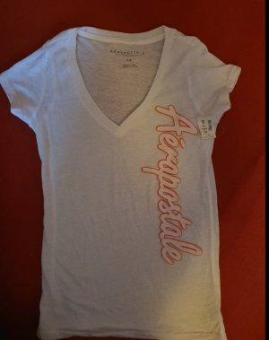 Aeropostale Camisa con cuello V blanco-rosa neón