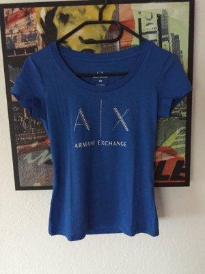 Armani Exchange T-shirt niebieski neonowy-w kolorze białej wełny