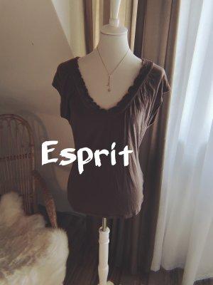 Esprit V-Neck Shirt brown-dark brown