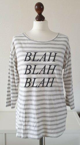 """Shirt von Esprit * Gr.M * gestreift * Aufdruck """"Blah Blah Blah"""" grau-weiß * 3/4-Ärmel"""