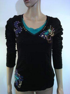 Top taille empire noir-bleuet coton