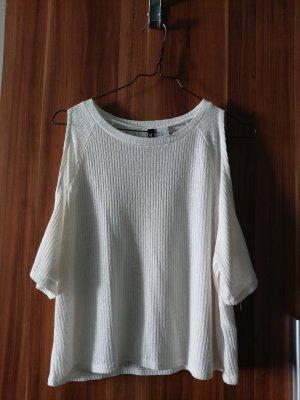 H&M Divided Prążkowana koszulka w kolorze białej wełny
