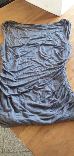 H&M Koszulka z dekoltem woda szary Tkanina z mieszanych włókien