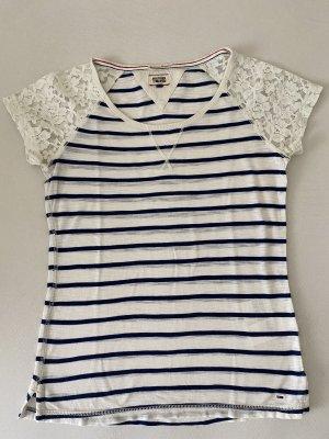 Hilfiger Denim T-shirt bianco sporco-blu scuro Cotone