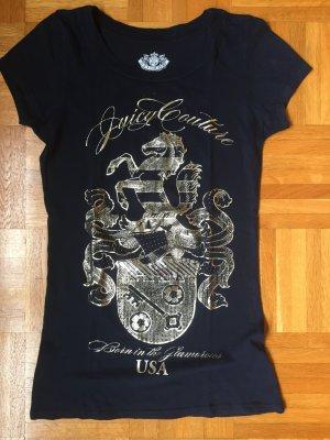 Juicy Couture Camiseta azul oscuro-color oro Algodón