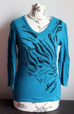 Shirt von Madonna Gr.34/36 Blau Damen Tiger Streifen Casual