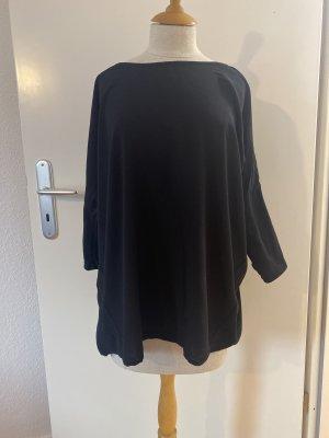 Mango Suit Koszulka z dekoltem w łódkę czarny Wiskoza