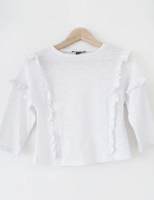 New Look Cropped Shirt white polyester