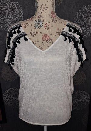 Noisy May Prążkowana koszulka biały-czarny