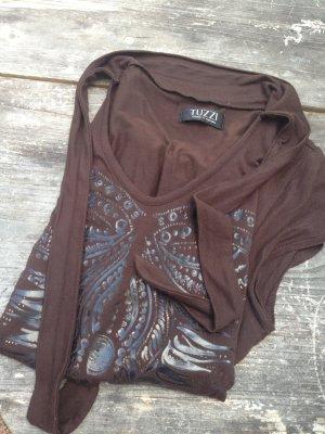 Tuzzi Camicia fantasia marrone scuro