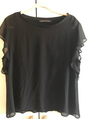 Zara Woman Haut à volants noir