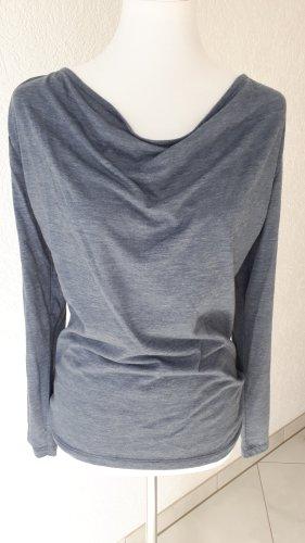 Shirt,Wasserfallshirt,Langarm,blau,Gr.36