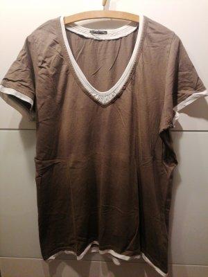Shirt weis/ braun Oversized
