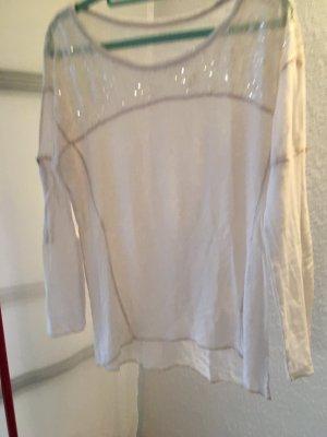 Shirt weiß halbdurchsichtig 36/38 mit Glitzer