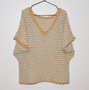 Handgemacht Gehaakt shirt licht beige-goud Wol