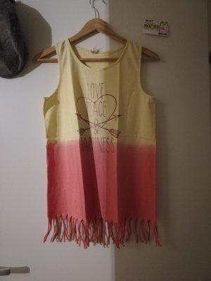 shirt yigga gelb rosa mit Fransen