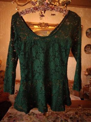 Shirt, Zara ,dunkelgrün, Blumenspitze, Gr. 38