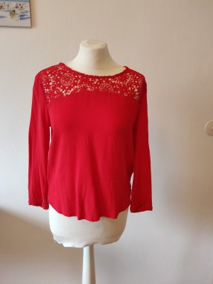 Shirtbluse,rot,mit Spitze